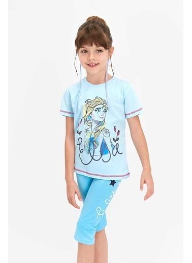 Frozen Karlar Ülkesi Frozen Lisanslı Açık Aqua Kız Çocuk Kapri Takım Mavi